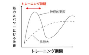 トレーニングの期間と重量の相関のグラフ